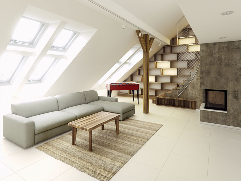 Rounded Loft Interior 3D Rendering